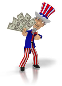 Uncle Sam Holding Money